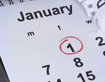 January 1st circled in red on a calendar