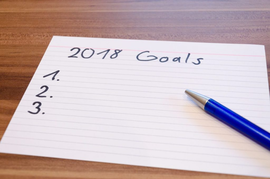 A blank list of goals for 2018 on a notecard
