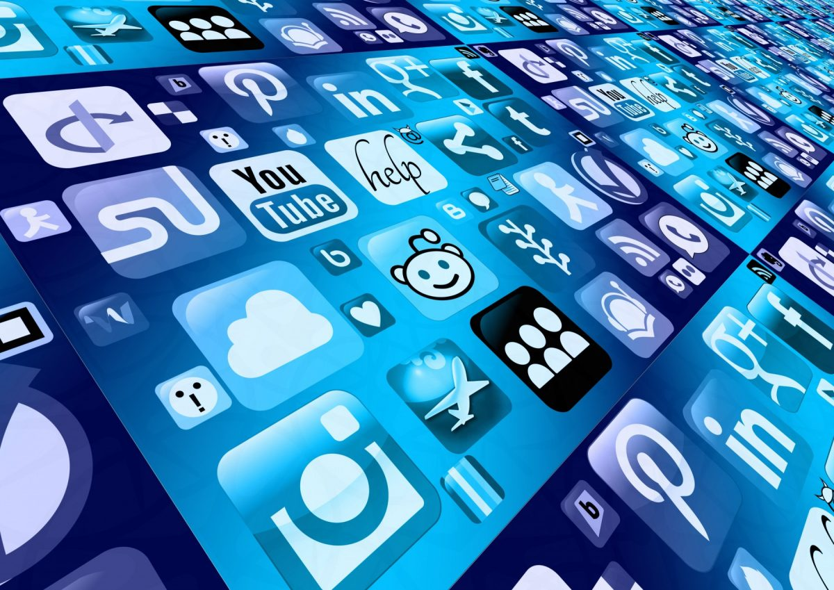 Blue array of social media icons